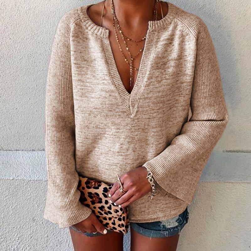 Deep V Flared Sleeve Women Knit Sweater - fashionshoeshouse