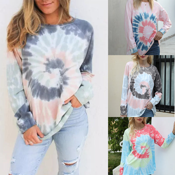 Crewneck tie dye sweatshirt for women cool pullovers