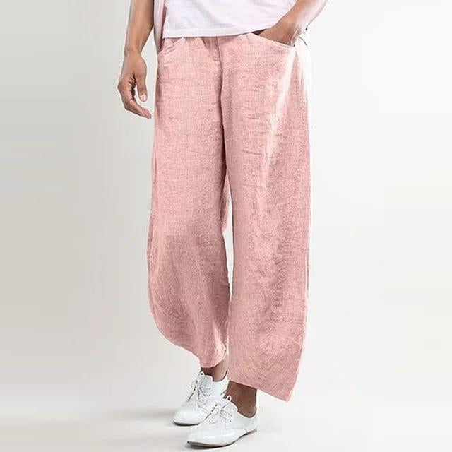 5XL Plus Size Wide Leg High Waisted Linen Pants - fashionshoeshouse