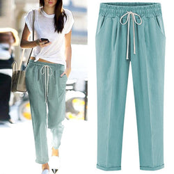 6XL Plus Size Women Drawstring Green Cotton Harem Pants - fashionshoeshouse