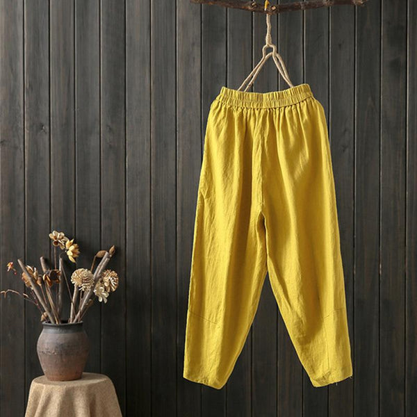 Women Casual Work Elastic Waist Plain Cotton Pants - fashionshoeshouse