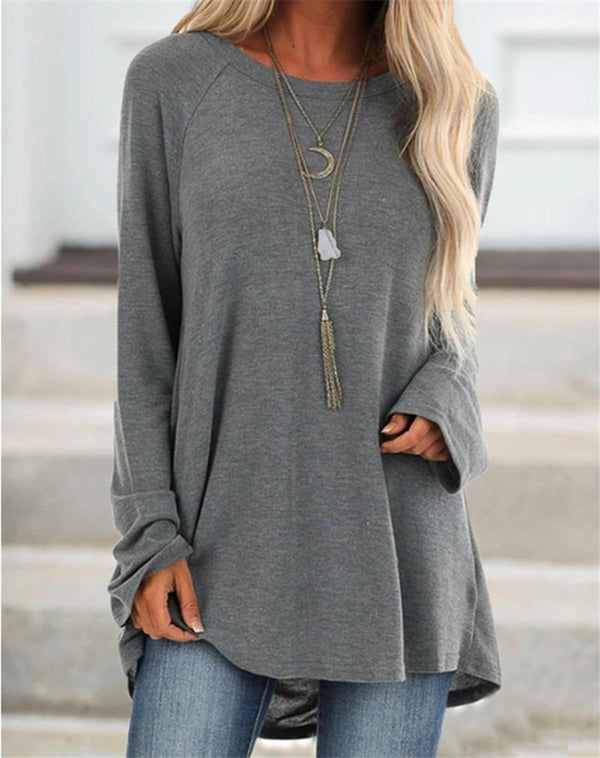 Women Casual Crew Neck Solid Long Sleeve Shirts & Tops - fashionshoeshouse