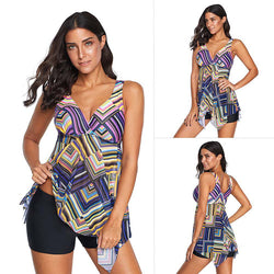 Printed Two Pieces Push Up Swimsuit - fashionshoeshouse