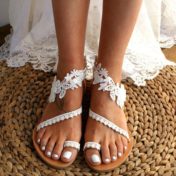 Women Bride Floral Strappy Flat White Wedding Sandals - fashionshoeshouse