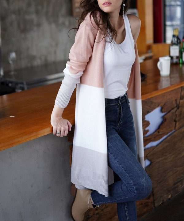 Women Knitted Striped Color Block Long Cardigan - fashionshoeshouse