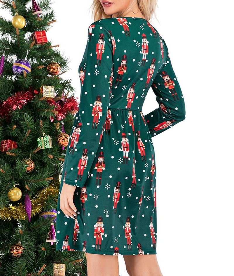Women's cute printed swing Christmas dress long sleeve Christmas dress