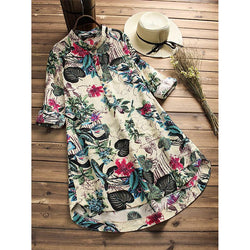 Floral Printed Long Sleeve Tunic Dress - fashionshoeshouse