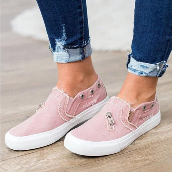 Women Distressed Canvas Sneaker Loafers - fashionshoeshouse