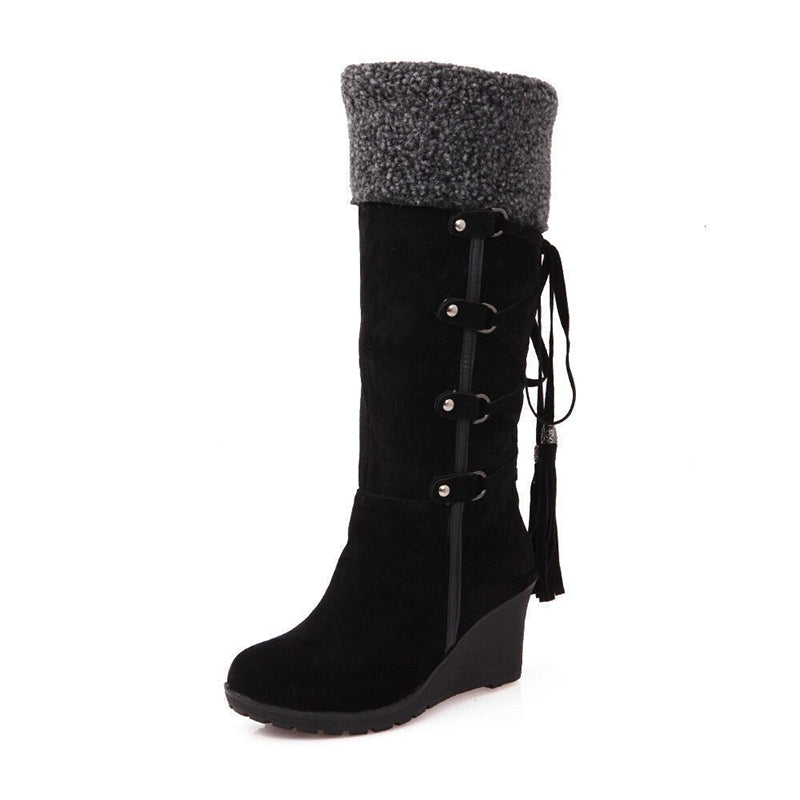 Women's suede knee high wedge snow boots back lace plush lining warm winter boots