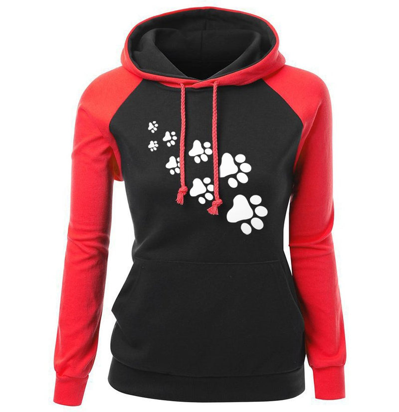 Women Autumn Fleece Sportswear Cat Paws Cartoon Print Hoodies Sweatshirt - fashionshoeshouse