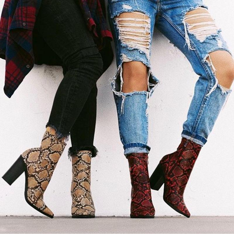 2019 New Fashion Women Chunky Snakeskin Side Zipper Ankle Boots - fashionshoeshouse