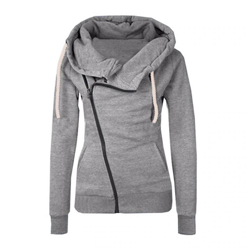 Solid Color Hooded Jacket Sleeve Women's Hoodie Zipper Fall Winter Women Sweatshirts - fashionshoeshouse