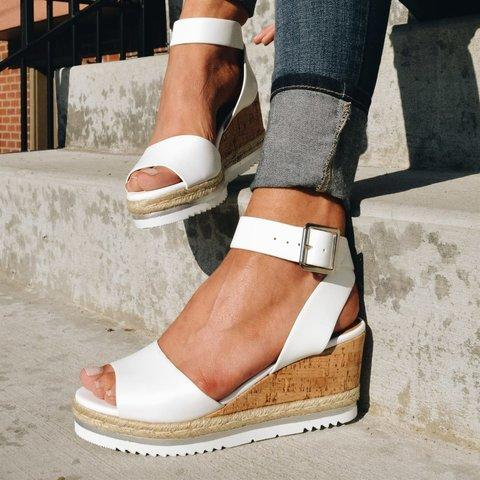 Women Chunky Strappy Adjustable Buckle Wedge Sandals - fashionshoeshouse