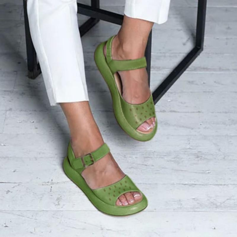 Roman Spot Pattern Slingback Hollow Out Buckle Sandals - fashionshoeshouse