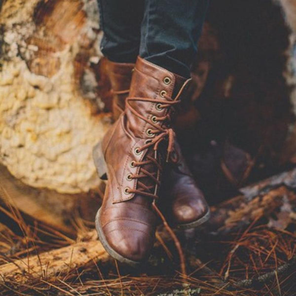 Vintage Lace Up Fashion Martin Boots - fashionshoeshouse