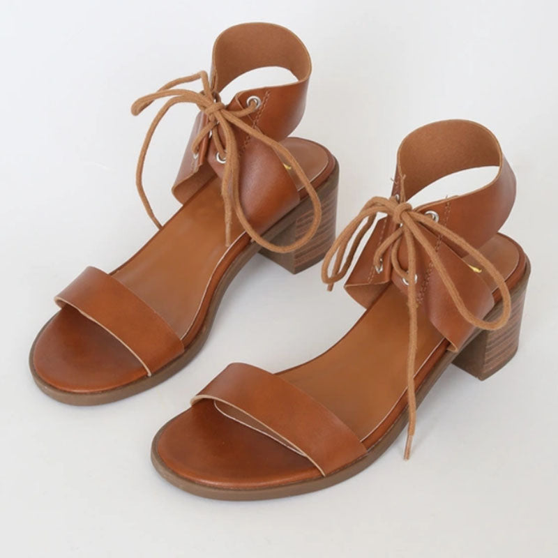 Women Summer New Fashion Chunky Lace Up Sandals