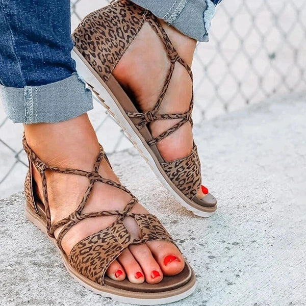 Women Hot Fashion Flat Heel Non Slip Leopard Strappy Sandals