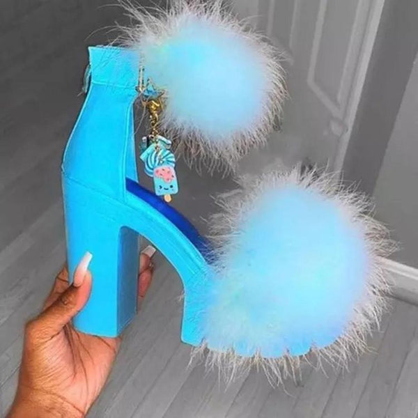 Women's fuzzy platform chunky high heel peep toe sandals