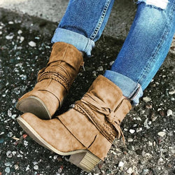 Women's short slouch booties vintage strappy ankle boots with zipper