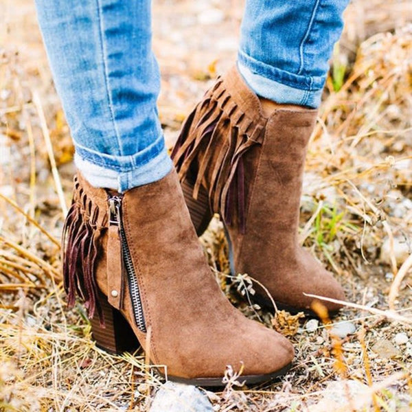 Women's block heel fringe boots zipper ankle boots with tassels medium high ankle boots