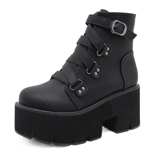 Women's black thick platform punk boots buckle strap chunky gothic ankle boots