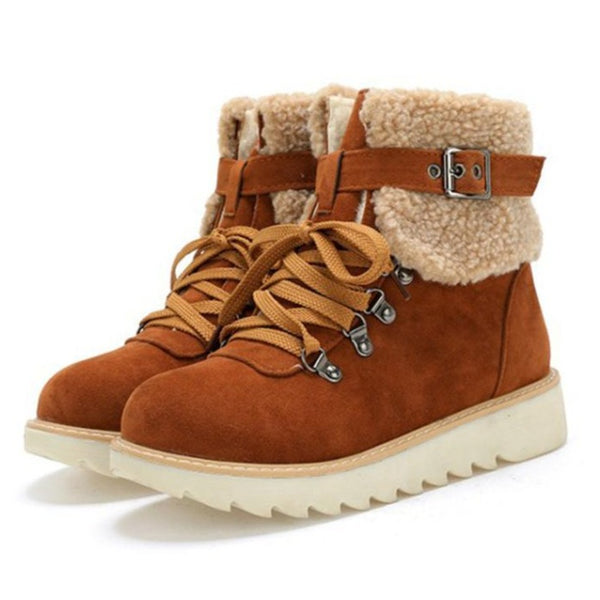 Women's fashion fur trim lace-up short snow boots flat non-slip plush lining warm boots