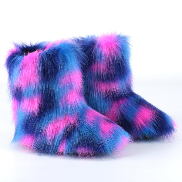 Women's multiclor fashion fluffy snow boots plush lining non-slip flat winter warm booties