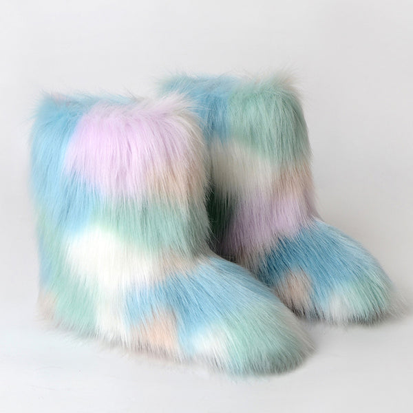 Winter Multicolor Fluffy Anti-skid Flat Heel Lining Fur Keep Warm Women Snow Boots