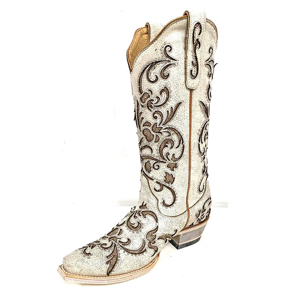 Women Retro Square Toe Chunky Heel Floral Embroidery Mid Calf Boots