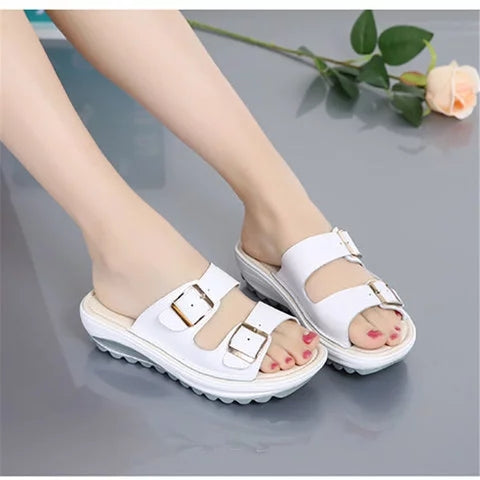 Women Buckle Platform Slides Beach Sandals - fashionshoeshouse
