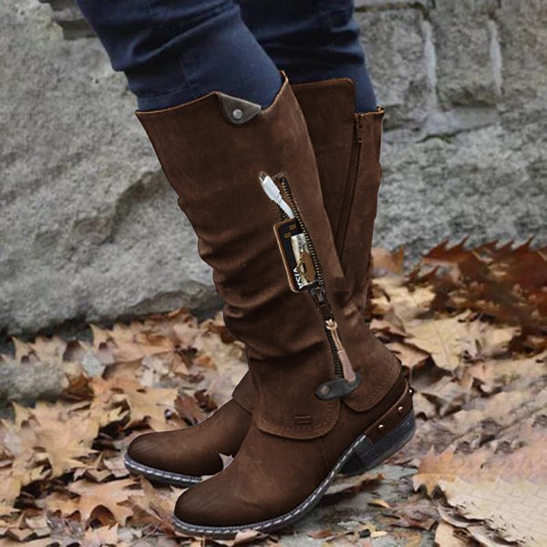 Women Studded Chunky Heel Round Toe Stitching Zipper Pocket Mid Calf Boots