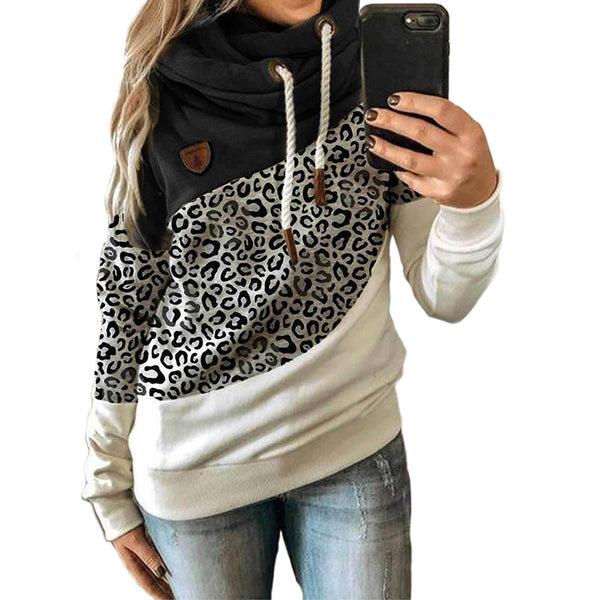 Women Leopard Trendy Color Block Long Sleeve Turtleneck Hoodie Sweatshirt