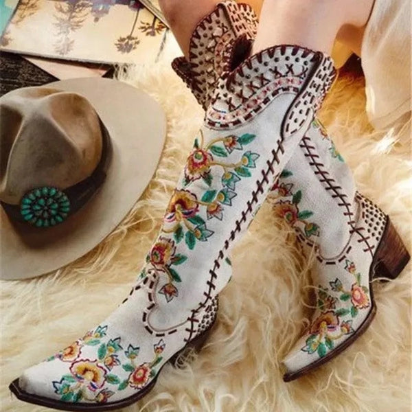 Women Ethnic Embroidered Flowers Stitching Chunky Heel White Cowboy Boots