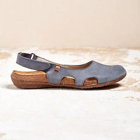 Beef Tendon Hollow Out Suede Comfy Sandals - fashionshoeshouse