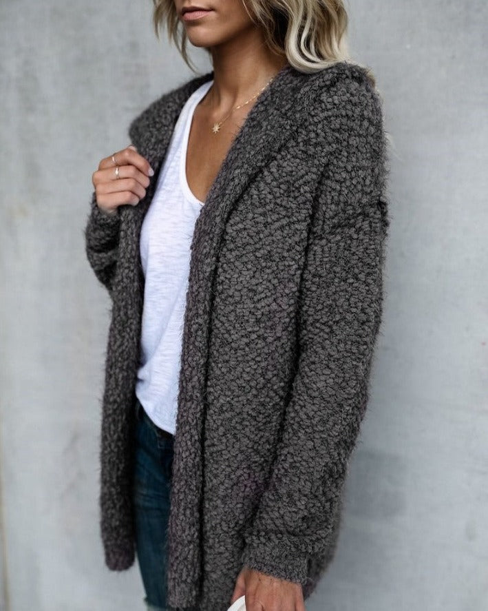 Women's hooded popcorn cardigan with pockets