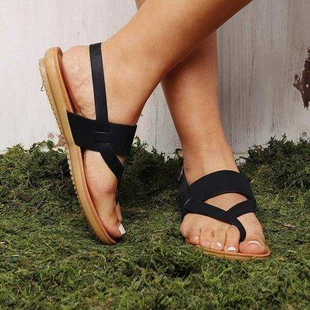 Comfy Ankle Strap Adjustable Buckle Flat Sandals For Women - fashionshoeshouse