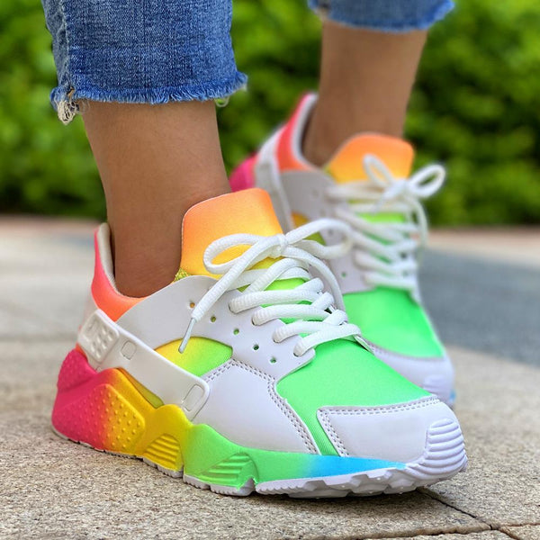 Women's rainbow running shoes mesh breathable comfy walking sneakers
