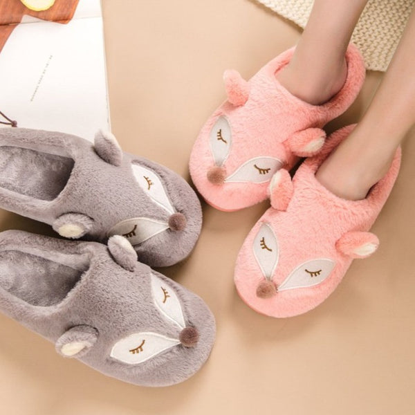 Cute & soft furry warm winter house shoes fox print animal slippers non-slip