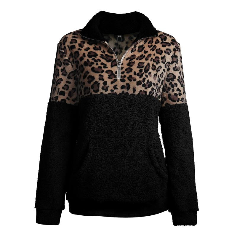 Women Zipper Paneled Fur Leopard Sweatshirt With Pockets - fashionshoeshouse