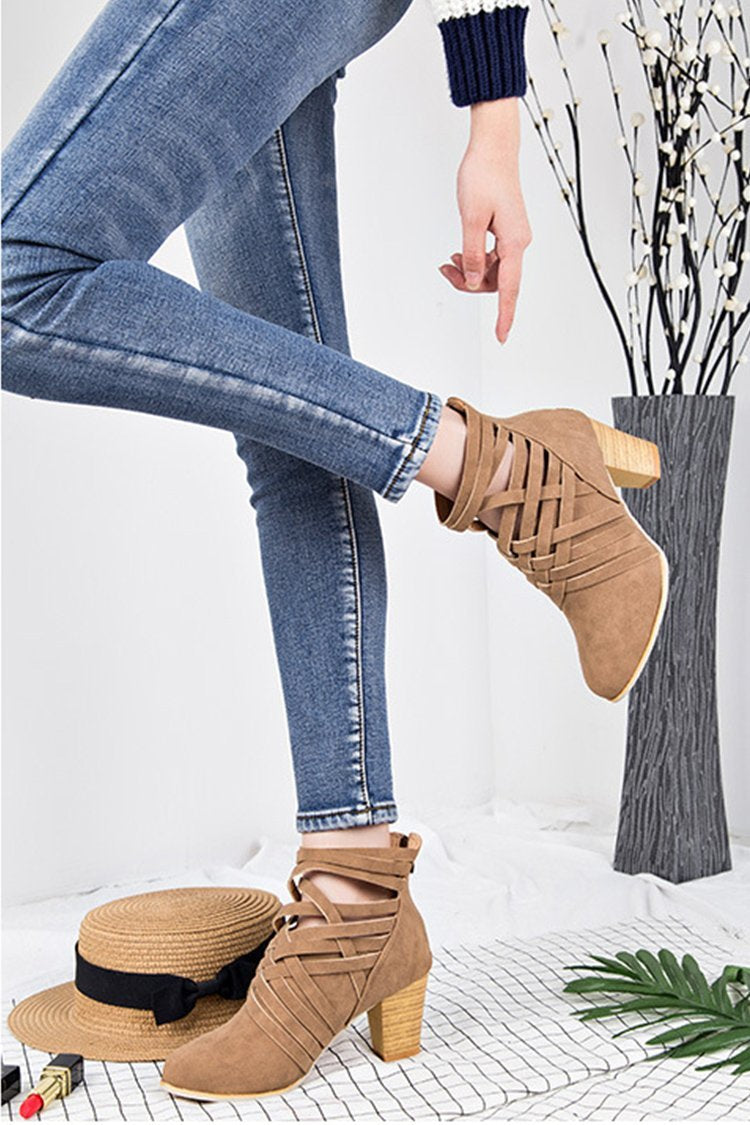 Chunky Plaform Ankle Zipper Boots - fashionshoeshouse