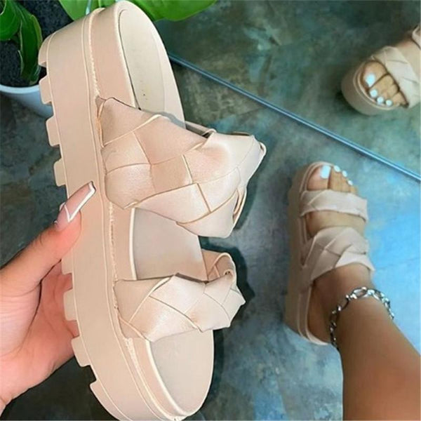 Women's 2 strap platform sandals fashion woven strap slide sandals