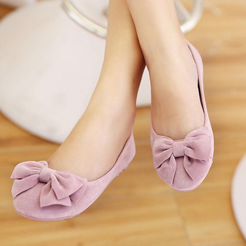 Bowknot Suede Round Toe Shallow Pink Flat Shoes For Women - fashionshoeshouse