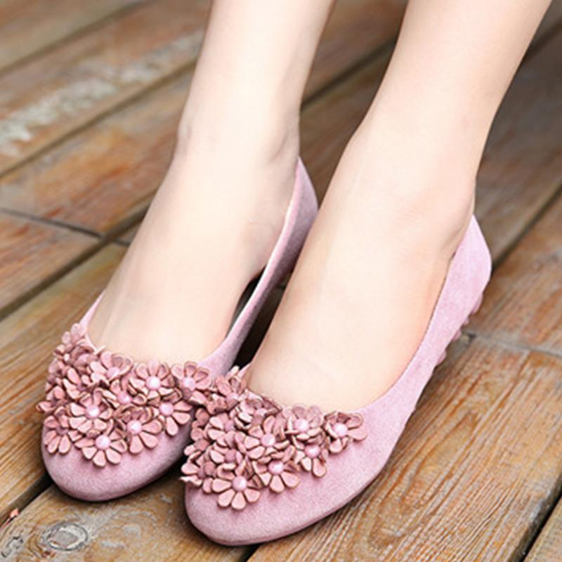 Flowers Pure Color Round Toe Pink Flat Shoes For Women - fashionshoeshouse