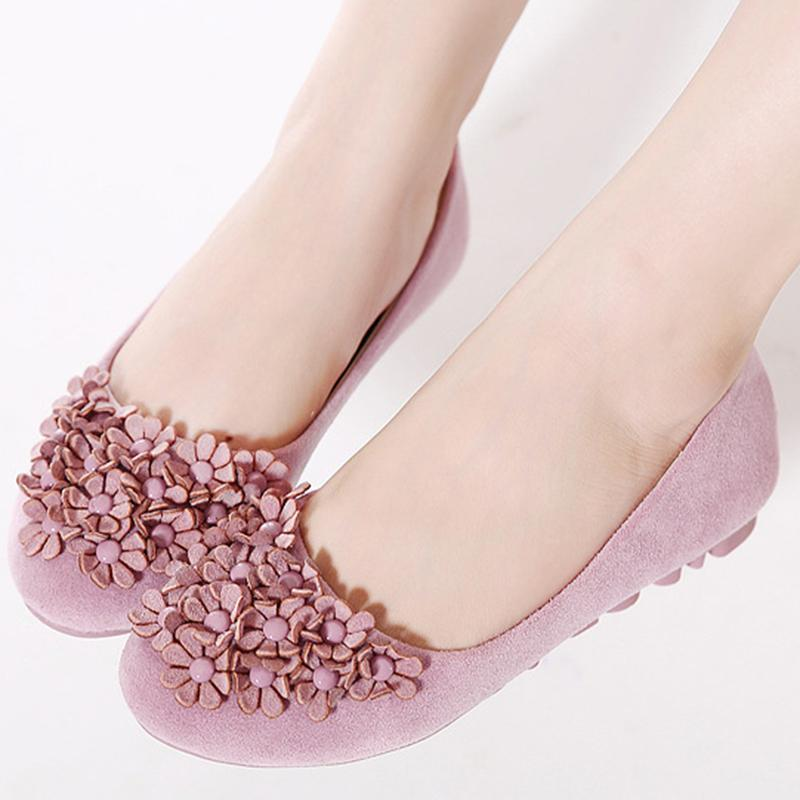 Floral Suede Women Loafers Comfort Moccasins Flat Shoes for Driving - fashionshoeshouse