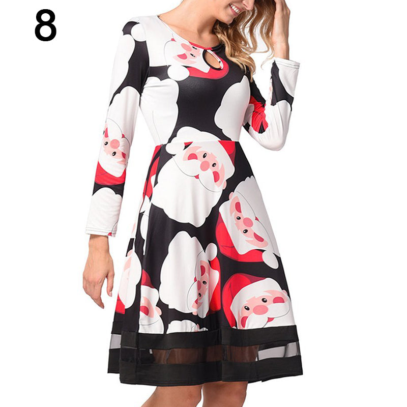 Women's vintage print Chritstmas party A-line swing dress long sleeve dress
