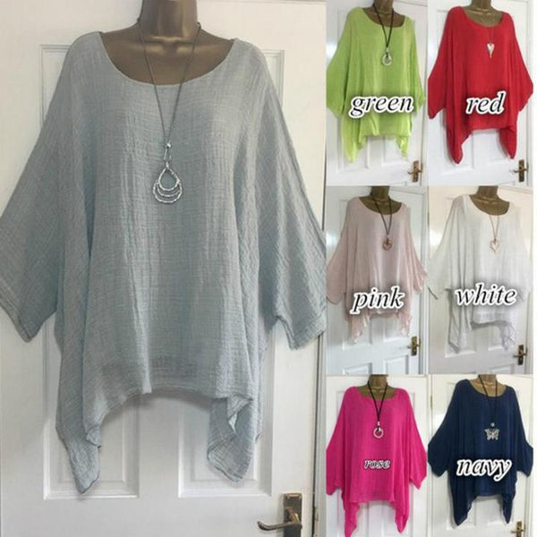Crew Neck Pure Color Batwing-sleeved T-shirt - fashionshoeshouse
