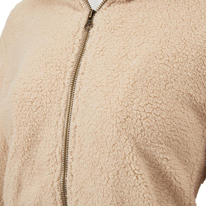 Hooded Faux Fur Zipper Women's Winter Coat - fashionshoeshouse