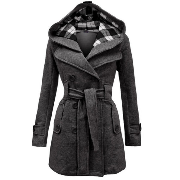 Women's double-breasted hooded coat fashion belted coat for winter