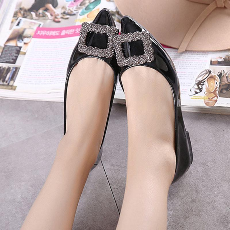 Candy Color Rectangle  Rhinestone Red Flat Shoes For Women - fashionshoeshouse