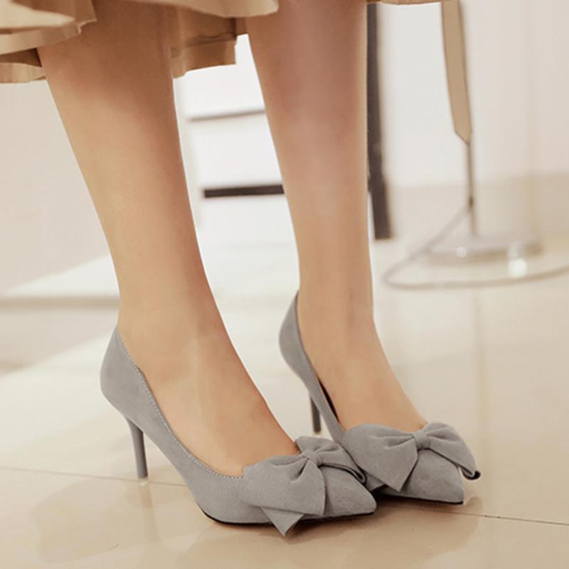 3 1/7 Inch Height Bowknot Suede Fashion Stiletto Business Heels For Women - fashionshoeshouse